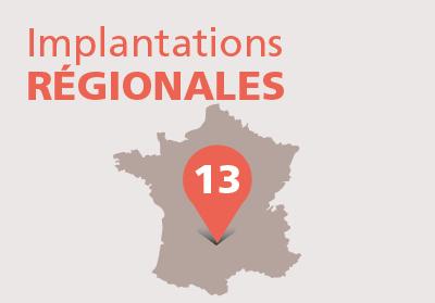 Implantations régionales