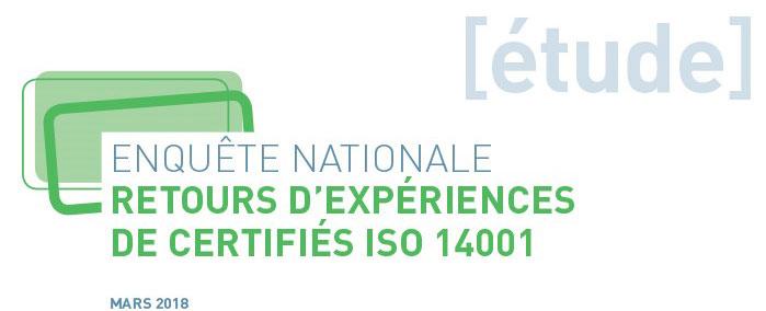 Couverture de l'enquête nationale sur les retours d'expériences de certifiés ISO 14001