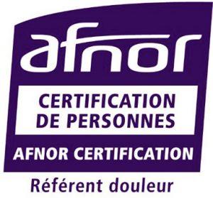 Logo AFNOR Certification - référent douleur