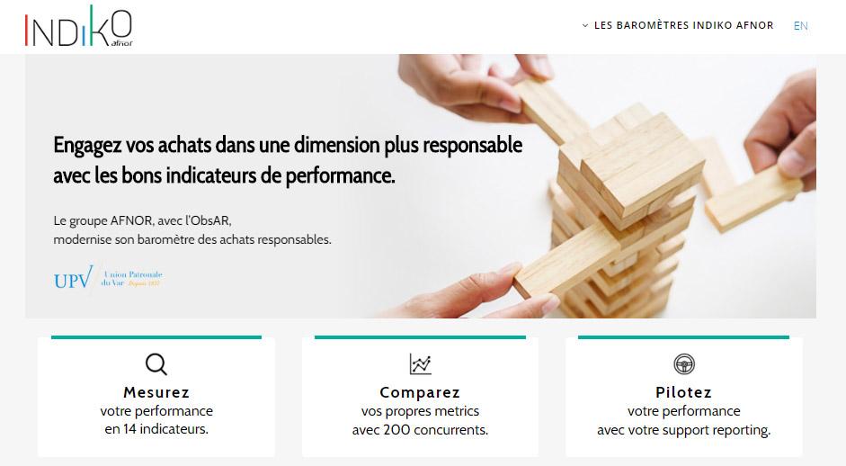 Capture d'écran du site Indiko Achats Responsables
