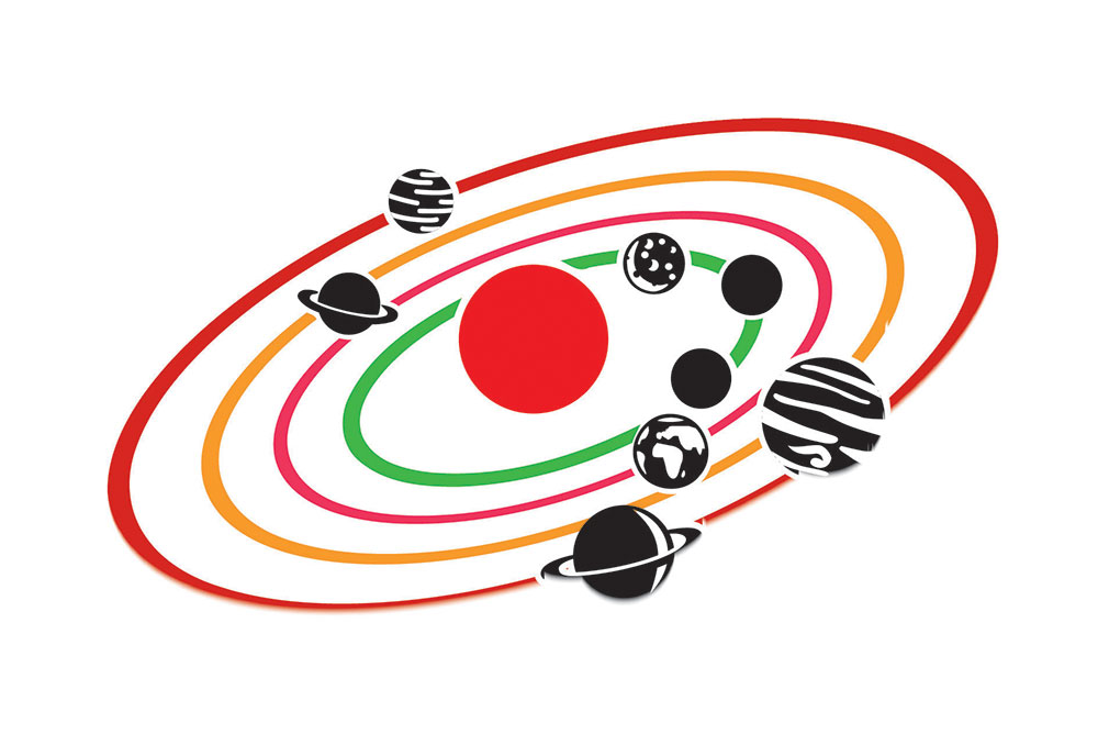 Schéma de planètes en orbite